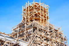 Church under construction. Against blue sky, close up Stock Image