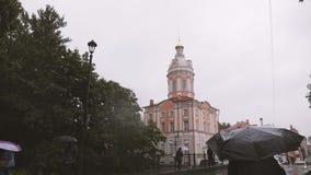 Church under heavy rain. Bad weather. stock video
