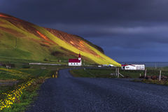 Church under the Mountain Iceland. Beauty world Royalty Free Stock Photos