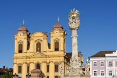 Church and Union Square of Timisoara,. Romania Stock Images