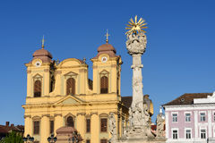 Church and Union Square of Timisoara,. Romania Royalty Free Stock Images