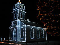 The church from Upper Canada Village lighted for Christmas - Ontario - Canada Royalty Free Stock Image