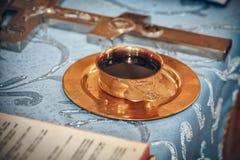 Church utensil on an altar Stock Image