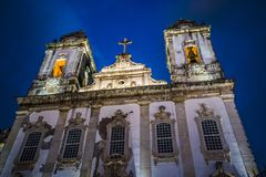 Church V.O.T. do Carmo, Salvador, Bahia, Brazil. Baroque facade of the Church V.O.T. do Carmo at night, Salvador, Bahia, Brazil royalty free stock images