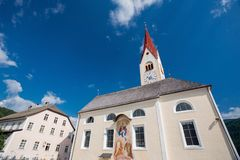 Church in Valdaora, Italy. Summer day Stock Images