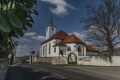 Church in Valtirov village near main road Royalty Free Stock Image