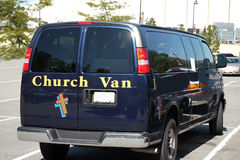 Church Van. A blue Van with a cross belong to the Royalty Free Stock Image