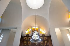 Church Vaults, service in the Orthodox Church at Christmas Eve. Kyrgyzstan, Bishkek, 06 January 2018, Church Vaults, service in the Orthodox Church at Christmas royalty free stock photo