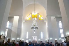 Church Vaults, service in the Orthodox Church at Christmas Eve. Kyrgyzstan, Bishkek, 06 January 2018, Church Vaults, service in the Orthodox Church at Christmas royalty free stock photography