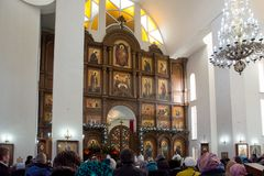 Church Vaults, service in the Orthodox Church at Christmas Eve. Kyrgyzstan, Bishkek, 06 January 2018, Church Vaults, service in the Orthodox Church at Christmas royalty free stock photos