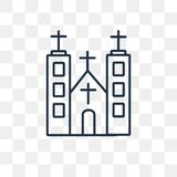 Church vector icon isolated on transparent background, linear Ch vector illustration