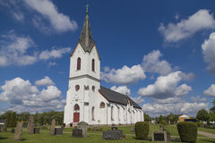 The church in Veddige, Sweden. A church built out of stone in the 19th century and completed in 1868. It resides in Veddige in Varberg on the Swedish west coast Stock Photo