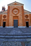 church  in  the vergiate old   closed brick tower sidewalk  lom Royalty Free Stock Photo