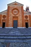 Church    the vergiate old   closed brick tower sidewalk  lomba Stock Photo