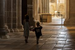Church Vezelay during Service Children stock image