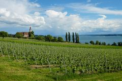 A church with a view of the lake Constance stock photos