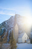 A church view in a morning sunshine glow in Aline village Stock Images