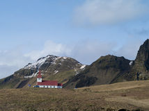 Church in Vik , Iceland. Photo of a church up hill in vik Royalty Free Stock Photography