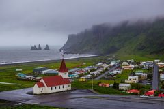 Church in Vik, Iceland. Red-steepled church  in the town of Vik in Iceland Royalty Free Stock Photos