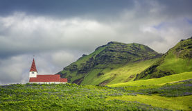 Church in Vik - Little Town in Southern Iceland Stock Photo