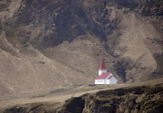Church of Vik, South Iceland. Church of Vik i Myrdal high on a mountain range in South Iceland royalty free stock photography