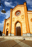Church  in  the villa cortese  old   closed brick tower sidewal Royalty Free Stock Image