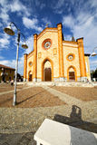 Church  in  the villa cortese  old   closed brick tower sidewal Royalty Free Stock Photography