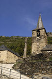 Church of village Aubert, Aran Valley, Lleida province, pyrenees. View of the Church of Aubert village, Aran Valley, Lleida province, pyrenees mountain, Spain Stock Images