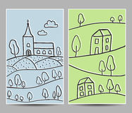 Church and village cards Royalty Free Stock Photo