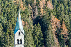 Church of the village of Gressoney in the Alps Royalty Free Stock Image