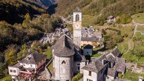Church Village Lavertezzo Valley Verzasca Ticino Switzerland Aerial 4k