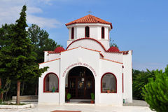 Church in village Limenaria,island Thasos,Greece. Thasos or Thassos is a Greek island in the northern Aegean Sea, close to the coast of Thrace and the plain of Stock Image