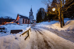 Church in the Village of Madonna di Campiglio in the Morning Stock Photography