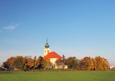 Church in village  Novy Zivot at autumn, Slovakia Royalty Free Stock Images