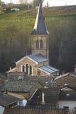 Church of the village of Saint Julien, Beaujolais, France Stock Images