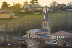 Church of the village of Saint Julien, Beaujolais, France Stock Photo