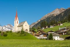 Church of the village in South Tyrol, Racines, Trentino Alto Adige, Italy. Church of the village in South Tyrol, Racines, Trentino Alto Adige, northern Italy stock image