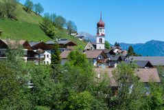 Church of the village in South Tyrol, Telves Racines, Trentino Alto Adige, Italy. Church of the village in South Tyrol, Telves Racines, Trentino Alto Adige royalty free stock photos