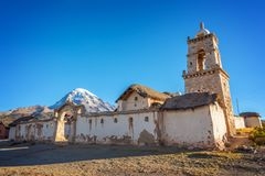 Church of the village of Tomarapi near Sajama volcano in Bolivia South America. Church of the village of Tomarapi near Sajama volcano in Bolivia, South America royalty free stock photos