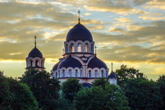 Church in Vilnius. Church orthodox Znamenskaja in Vilnius at sunset Royalty Free Stock Photo