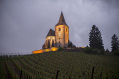 Church in vineyards, Alsace Stock Photo