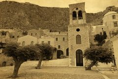 Church vintage postcard. Greece monemvasia church in main capitol in mani Peloponnese with sea background royalty free stock image