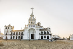 Church of the Virgen del Rocio. It is the church of the village of El Rocio royalty free stock photos