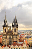 Church of Virgin Maria Before Tyn. A view to the Church of Virgin Maria Before Tyn and rooftops of Old Town; Prague, Czech Republic Stock Image