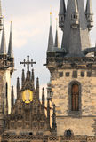 Church of Virgin Maria Before Tyn in Prague. A closeup on Church of Virgin Maria Before Tyn in Old Town Square in Prague stock image