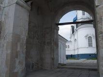 Church in Vladimir. Scenic view of Church throu arc gate in Vladimir, Golden Ring Stock Photography