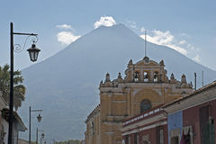 Church with volcano background Royalty Free Stock Photo