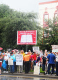 Church vs. State Rally. Demonstrators gather in Pensacola, Florida to support highschool educators on federal trial for saying grace before a meal at an adults Stock Photos