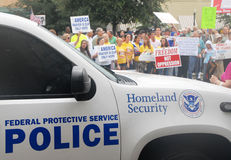 Church vs. State Rally. Demonstrators gather in Pensacola, Florida to support highschool educators on federal trial for saying grace before a meal at an adults Stock Photo