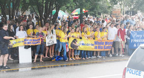 Church vs. State Rally. Demonstrators gather in Pensacola, Florida to support highschool educators on federal trial for saying grace before a meal at an adults Royalty Free Stock Photo